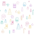 Line Christmass icons seamless background vector image