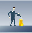 rich business man watering coin stack money growth vector image