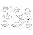 set of cartoon alien ufo space ships vector image