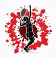 woman tennis player sport woman action serve vector image