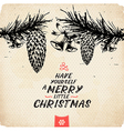 Retro Vintage Hand Drawn Christmas Greeting Card vector image