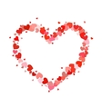 Heart contour made up of little pink and red vector image