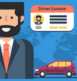 man with driver license and car vector image
