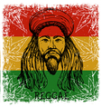 portrait of rastaman and cannabis leaves vector image