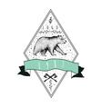Vintage label bear Design for T Shirt vector image