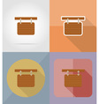 wooden board flat icons 15 vector image