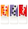 Three berries and milk banners vector image vector image