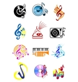 Colorful musical icons set vector image vector image