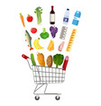 metal shopping cart full of groceries products vector image