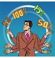 Promotions discounts sale businessman juggling vector image