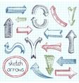 Arrows icon set sketch vector image