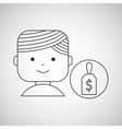 cartoon person money dollar design vector image