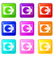 cd box with disc icons 9 set vector image