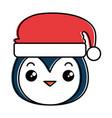 cute penguin head with christmas hat kawaii vector image