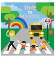 Teacher lead Kids cross the Street to School vector image