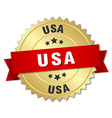 usa round golden badge with red ribbon vector image