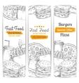 Fast food restaurant menu sketch banner set vector image vector image