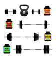 sports nutrition supplements barbells whey protein vector image