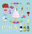 set wedding cake with couple newlyweds glasses vector image