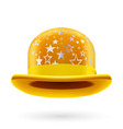 Yellow starred bowler hat vector image vector image