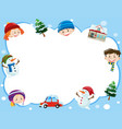 border template with kids in winter time vector image
