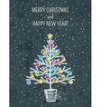 grey background with christmas tree vector image