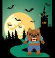 halloween background with werewolf and full moon vector image