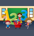happy children with large numbers in class vector image