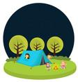 kids children camping tent outdoor fun activity vector image