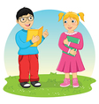 Kids Reading Book vector image