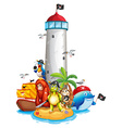 Lighthouse and animals vector image