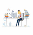tired office worker - modern cartoon people vector image