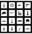 War icons set simple style vector image