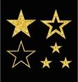 set of gold star on black vector image