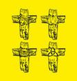 set of wooden crosses vector image