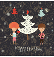 Christmas card with kids vector image