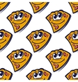 Seamless pattern with cartoon pizza slices vector image