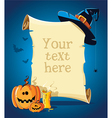 Halloween blue banner with empty paper scroll vector image