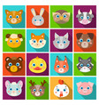 animal muzzle set icons in flat style big vector image
