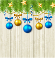 Green fir branches stars and blue baubles vector image