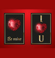 happy valentines day greeting card red gem vector image