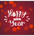 New Year hand drawn lettering on dark red vector image