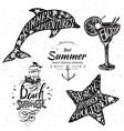 vintage summer typography design with labels vector image