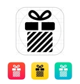 Striped gift box icons on white background vector image