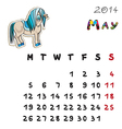 color horse calendar 2014 may vector image vector image