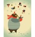 Bear and birds celebrate Christmas vector image