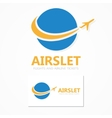 Logo combination of a globe and airplane vector image