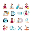 Customer Support Service Flat Icons Set vector image