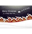 Night christmas city landscape Santa Claus flies vector image