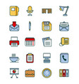 office set icons equipment supplies work vector image
